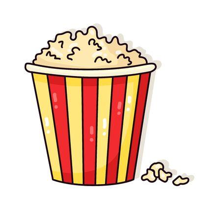 Pop corn fast food doodle cartoon vector icon