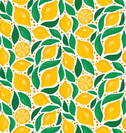 Cute lemons and leafs foliage seamless vector pattern