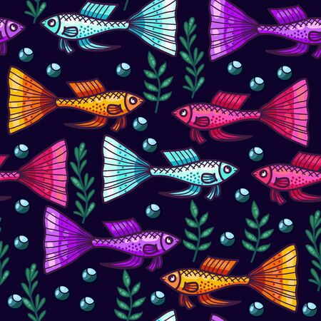 Guppy fish colorful seamless vector pattern