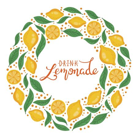 Lemons decorative round wreath border with hand writtern lettering