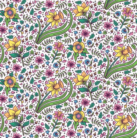 Colorful flowers floral seamless vector pattern Illustration