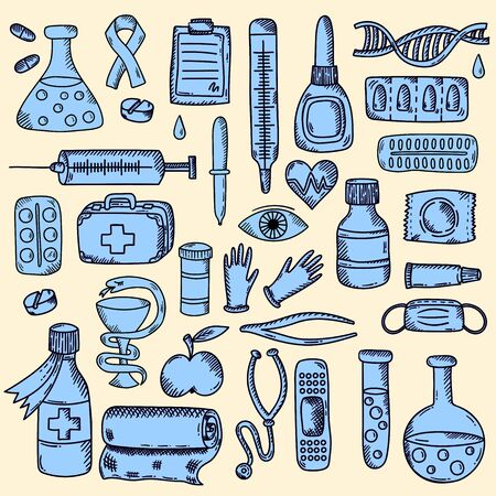 Medical healthcare equipment pills icons doodle vector set Illustration