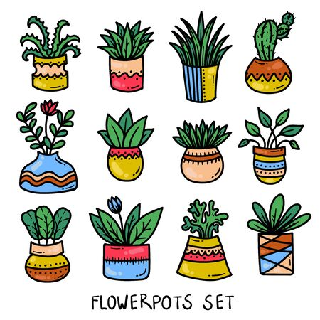 Flower pots colorful house plants icons vector collection