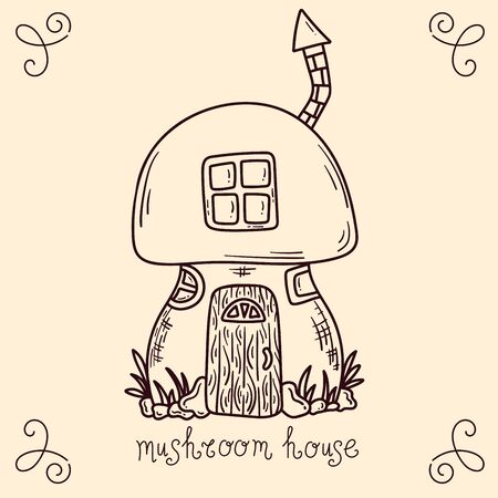 Mushroom decorated as fary tale house coloring page childish vector illustration Illustration