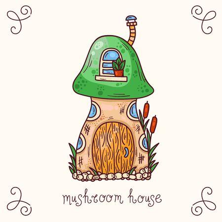 Cute mushroom house cartoon doodle vector illustration