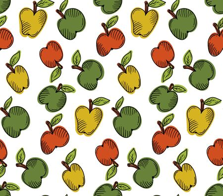 Apples fruits colorful doodle seamless vector pattern Illustration
