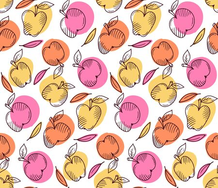 Apples leafs textile seamless vector pattern
