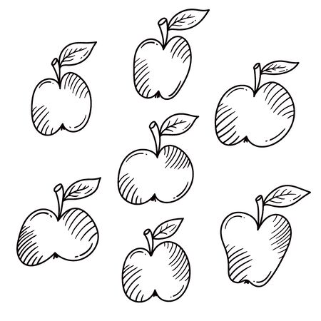 Apples doodle fruits icons vector set