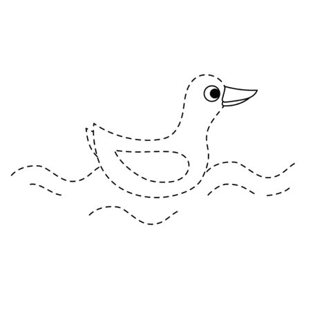Duck children quiz dashed line educational drawing coloring page