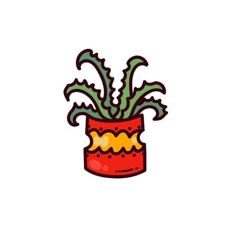 Aloe house plant flower pot doodle colorful cartoon icon logo design