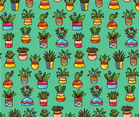Flower pots house plants doodle colorful cartoon icons seamless vector pattern