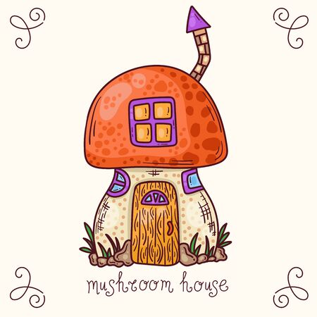 Mushroom house colorful doodle cartoon fairy tale vector illustration Ilustracja