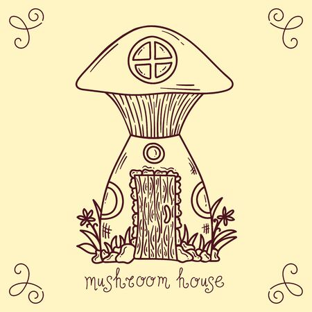 Doodle line mushroom house vector illustration