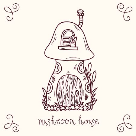 Mushroom cottage fairy tale doodle vector illustration