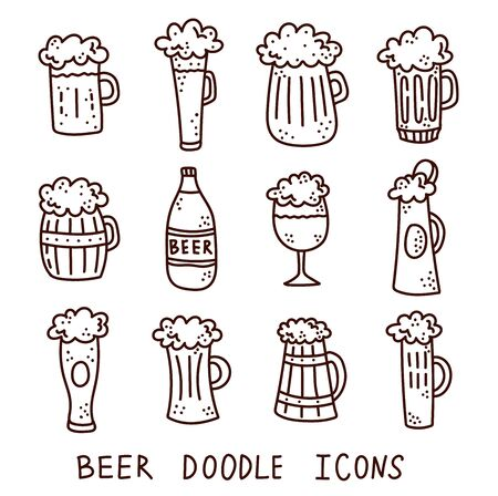 Beer cuos doodle vector icons set