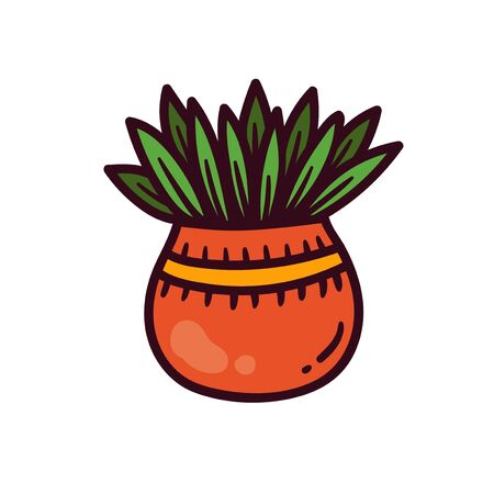 Flower pot colorful house plant vector icon