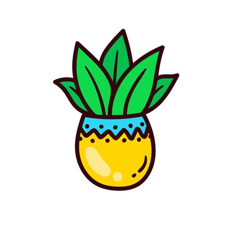 House plant flower pot colorful vector icon