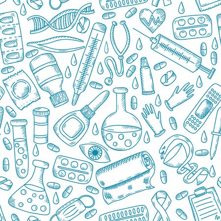 Medical healthcare doodle icons seamless vector pattern