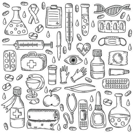 Medicine healthcare doodle icons vector set 일러스트