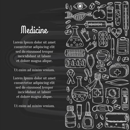 Medcine doodle icons decorative row border vector illustration Illustration
