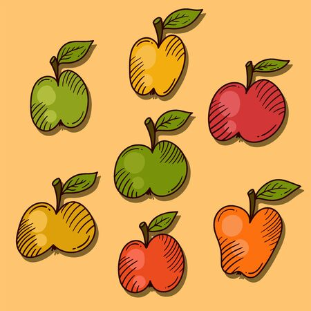 Apples doodle cartoon icons vector set