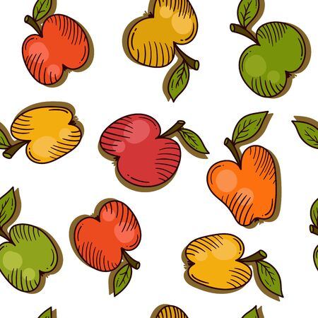 Apples doodle fruit icons colorful seamless vector pattern