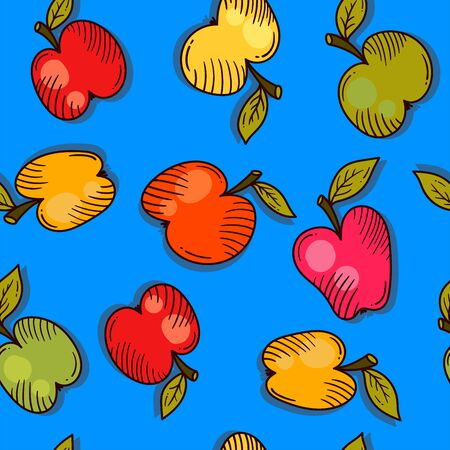 Apples colorful fruits seamless vector pattern