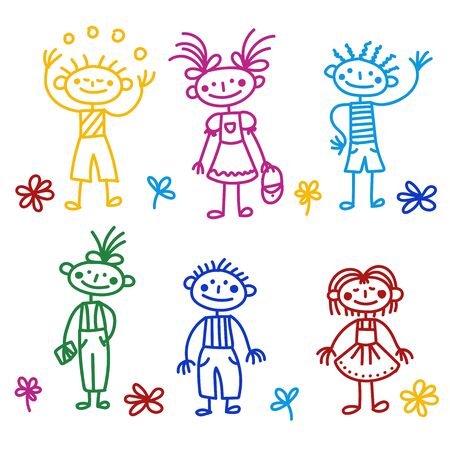 Children doodle colorful childlike drawn characters vector set