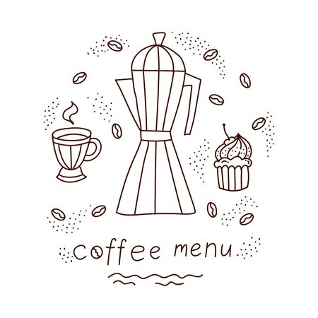 Coffee doodle line vector icons set decorative illustration