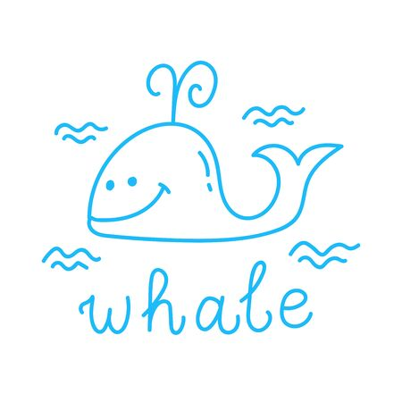 Whale doodle line childlike vector icon Illustration