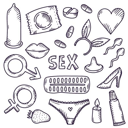 Sex intimate relations doodle vector icons set