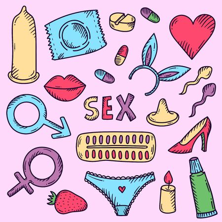Sex love relationship doodle colorful cartoon icons vector set