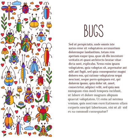 Bugs insects vector set decorative row design