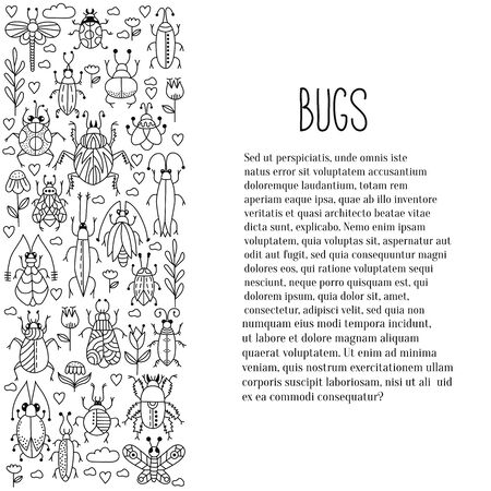 Bugs insects doodle vector icons set Illustration