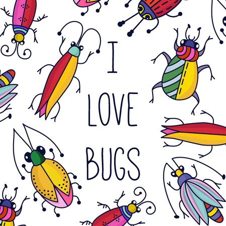 Bugs insects doodle line colorful vector set i love bugs illustration Illustration