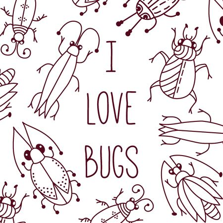 Bugs beetles insects set doodle line vector banner