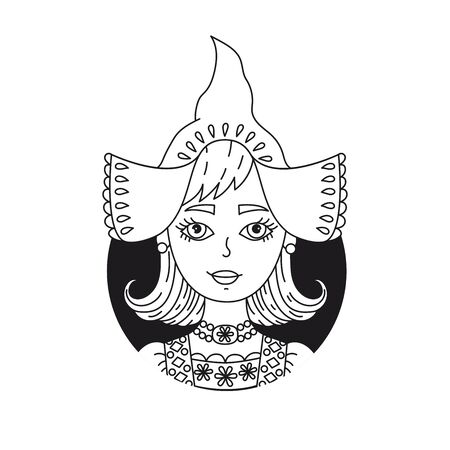 Holland Netherlands girl doodle black and white vector portrait