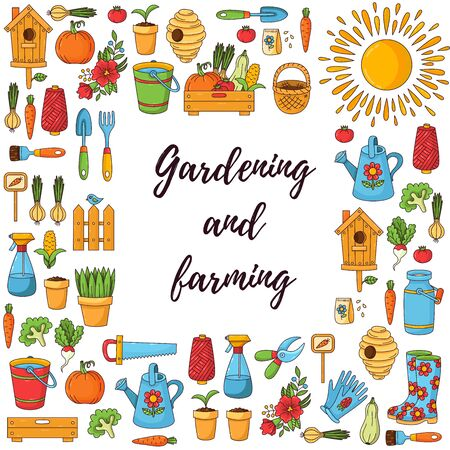 Gardening and farming cute cartoon doodle icons set