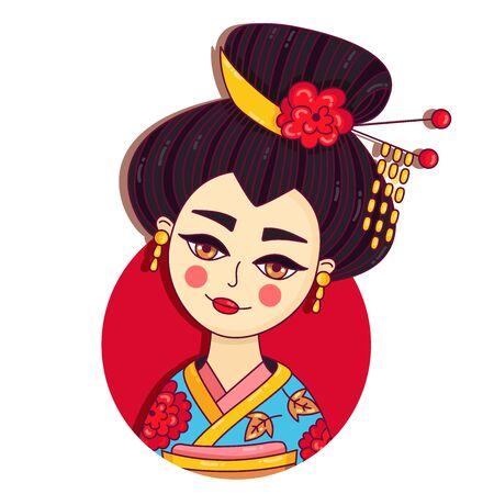 Geisha japan girl lady female doodle colorful vector portrait