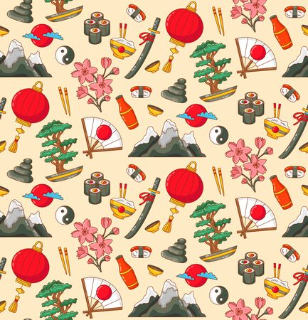 Japan traditional country natioanal symbols doodle colorful icons seamles vector pattern