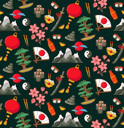 Japan colorful cute doodles seamless vector pattern
