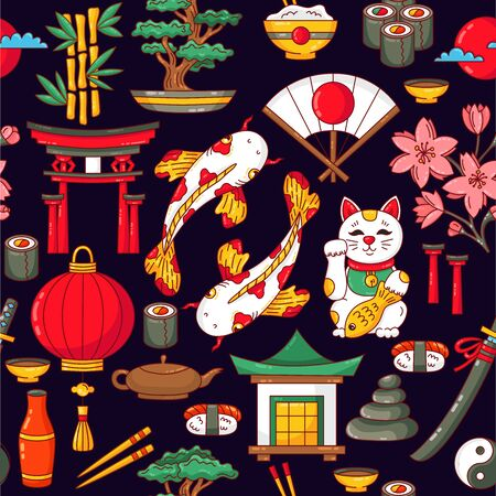 Japan traditional symbols doodle colorful cartoon seamless vector pattern