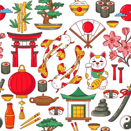 Japan traditional icons cute cartoon colorful seamless vector pattern