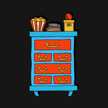 Bureau house furniture colorful outline vector illustration
