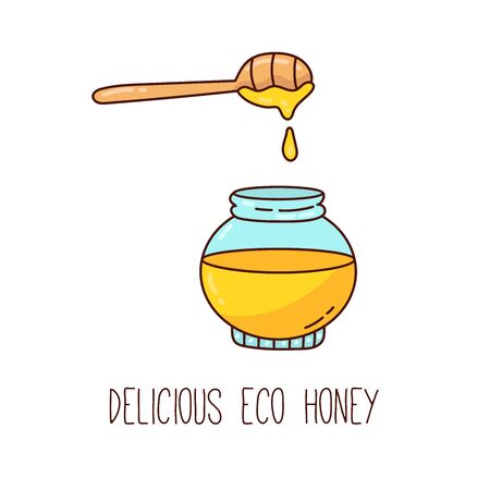 Jar of honey cartoon colorful doodle vector icon Illustration