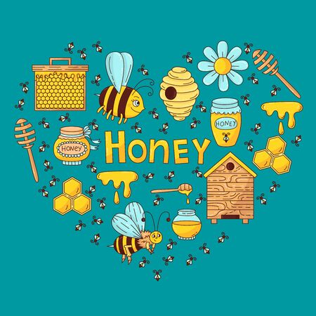 Honey Bee doodle colorful cartoon icons vector set