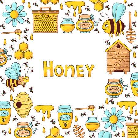 Honey bee doodle cartoon icons decorative square frame design template