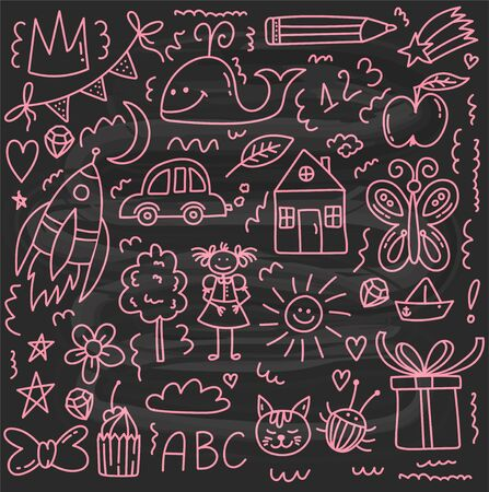 Childlike drawings doodle icons vector set Illustration