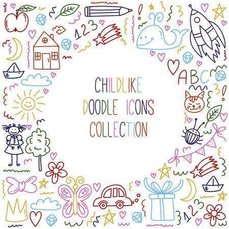 Childlike doodle line vector icons set
