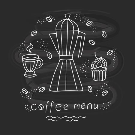 Coffee bakery doodle icons vector set